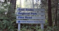 East Sooke Park Sign at Pike Road Access